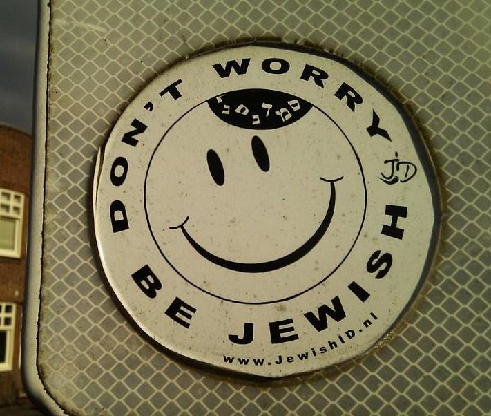 sticker don't worry be jewish jewishid.nl