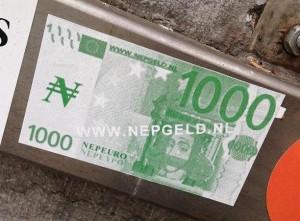 sticker nep-euro nepgeld.nl Amsterdam 2013