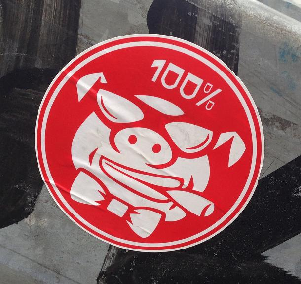 sticker swine pig hog 100 per cent Amsterdam varken