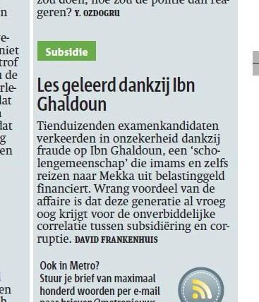 ingezonden brief Ibn Ghaldoun Metro juni 2013