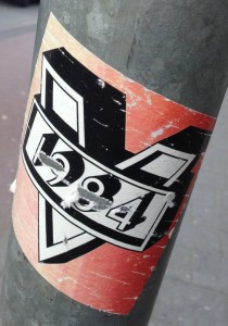 sticker 1984 'V' Amsterdam ndsm 2014 May Orwell