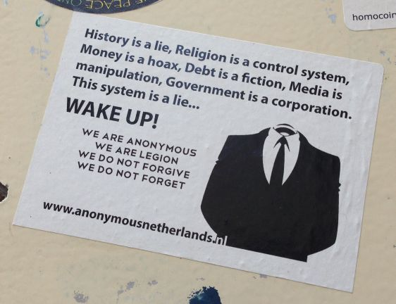 sticker Anonymous Amsterdam 2014 May history religion mony media government