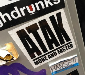 sticker Atak more and faster Amsterdam 2013