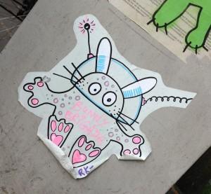 sticker Bunny brigade space rabbit Amsterdam 2013 JP Heijestraat