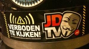sticker JDTV kijken verboden Amsterdam