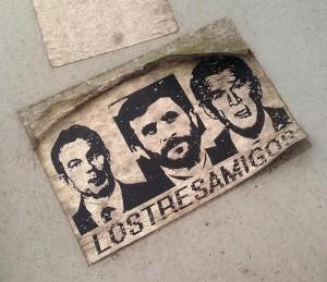 sticker Los tres Amigos Blair Ahmadinejad Bush Amsterdam de Pijp August 2013