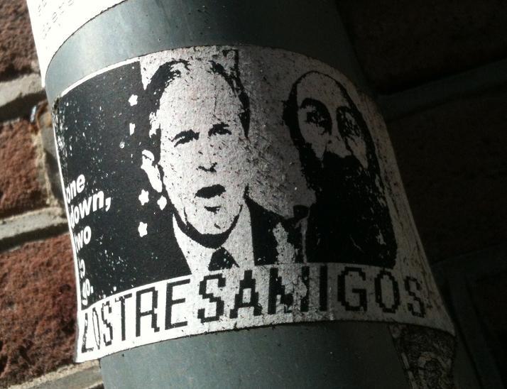 sticker Los tres amigos Bush Bin Laden one down Amsterdam 2012