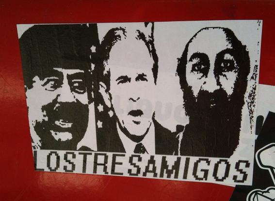 sticker Los tres amigos Saddam Bush Bin Laden Amsterdam 2012