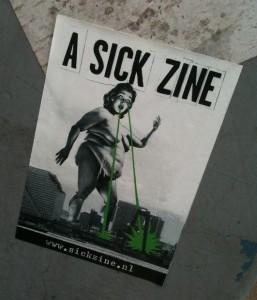 sticker a sick zine fat giant lady laser eyes Amsterdam 2012