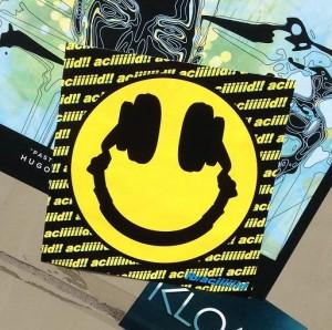 sticker acid smiley headphones Amsterdam