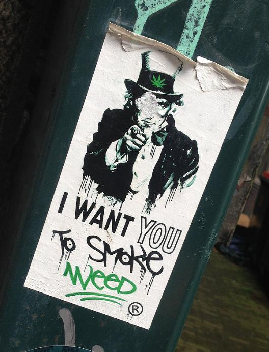 sticker i want u to smoke weed Amsterdam 2013 R
