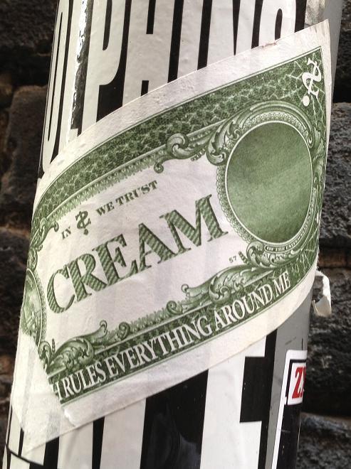 sticker in cream we trust Amsterdam Spui 2013 dollar money
