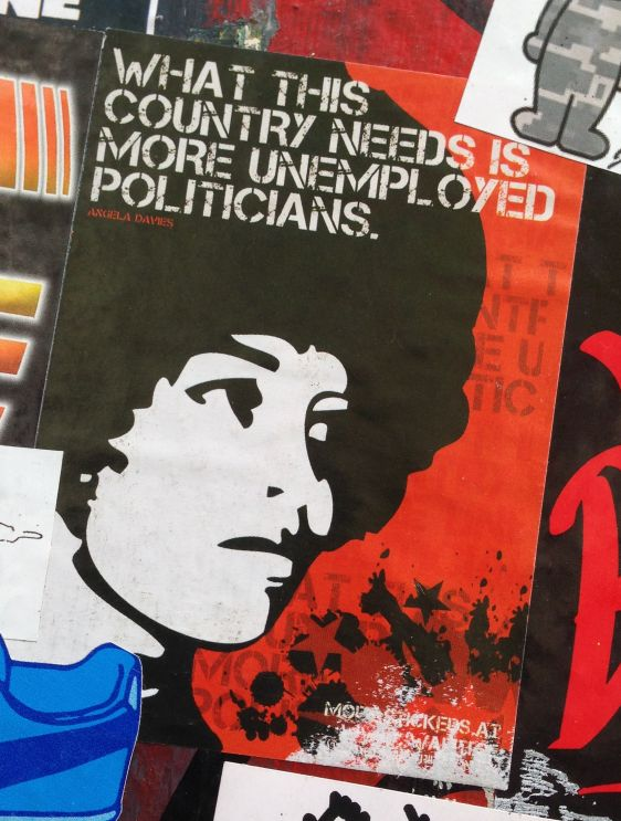 sticker more unemployed politicians Angela Davies Spui Amsterdam 2014 June politics