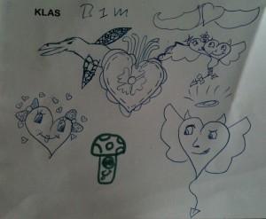 'Kinderkrabbels tijdens de les' tekening hartjes