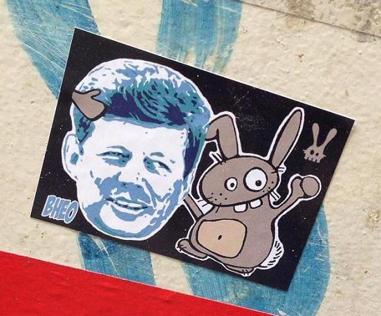 sticker Bunny Brigade JFK Kennedy Amsterdam BHEO rabbit