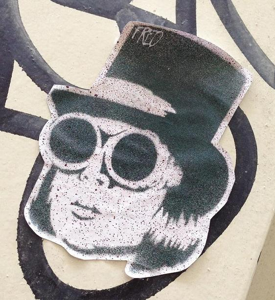 sticker Fred man sunglasses hat Amsterdam 2012