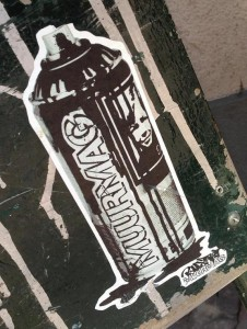 sticker Muurmag BustArt spray can Amsterdam 2013