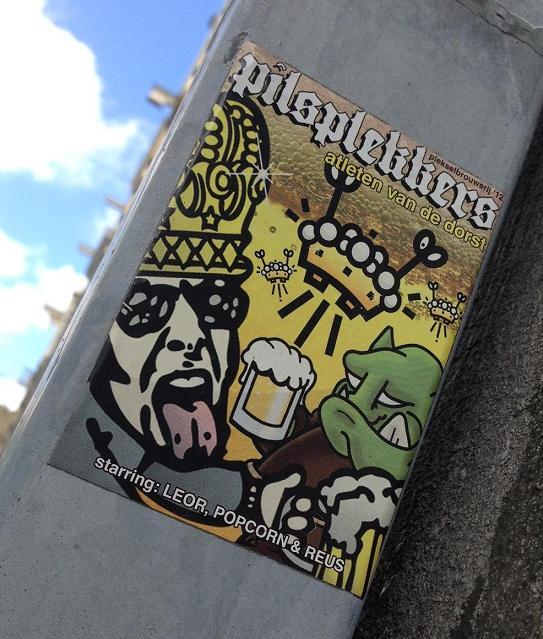 sticker Pilsplekkers collab Reus Popcorn Leor Amsterdam 2013