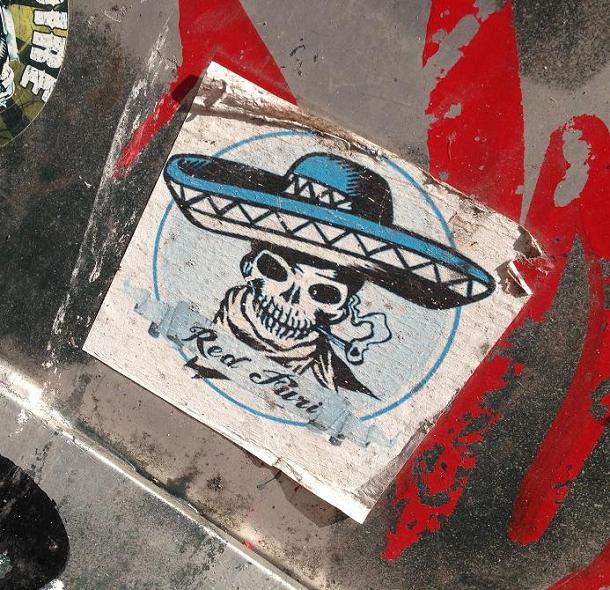 sticker Red Furi Mexican skull Amsterdam 2013