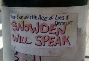 sticker Snowden will speak Amsterdam de Pijp August 2013
