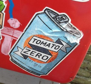 sticker Tomato Zero Amsterdam Centrum 2013 blikje can