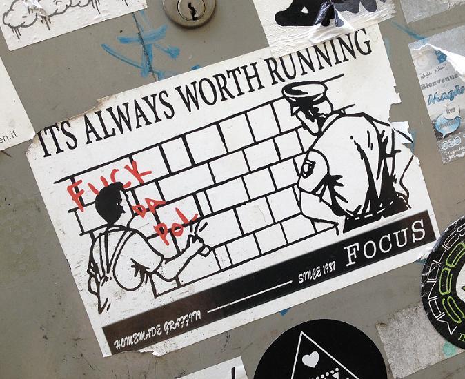 sticker always worth running homemade graffiti Amsterdam 2013
