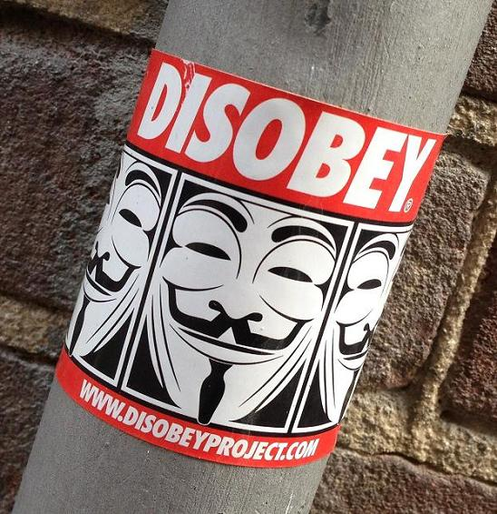 sticker disobey Amsterdam 2013 Guy Fawkes