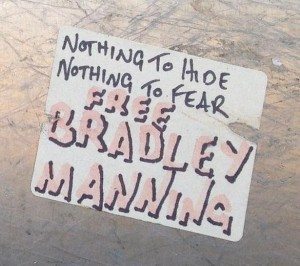 sticker free Bradley Manning Amsterdam Center July 2013