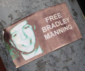sticker free Bradley Manning Amsterdam center 2013 September