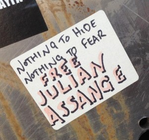 sticker free Julian Assange Amsterdam Center July 2013