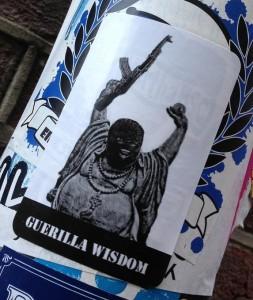 sticker guerilla wisdom Amsterdam center 2013 August