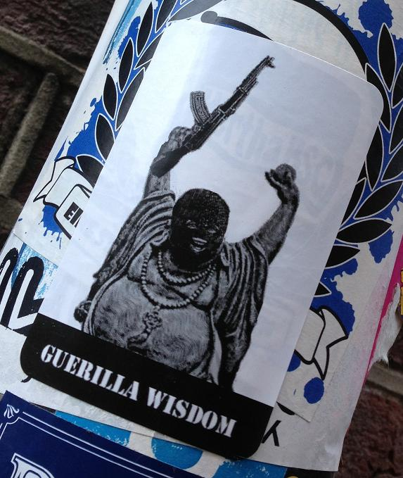 sticker guerilla wisdom Amsterdam center 2013 August