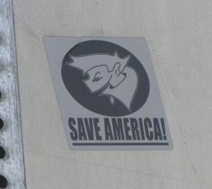 sticker save America Los Angeles Sunset Boulevard