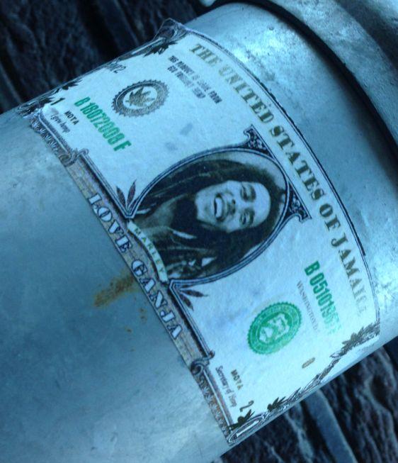 Bob Marley sticker united states Jamaica Amsterdam December 2013 dollar cannabis ganja