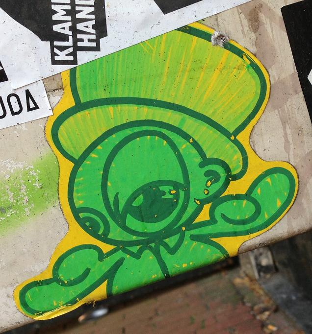 sticker Amsterdam center 2013 August creature green hat