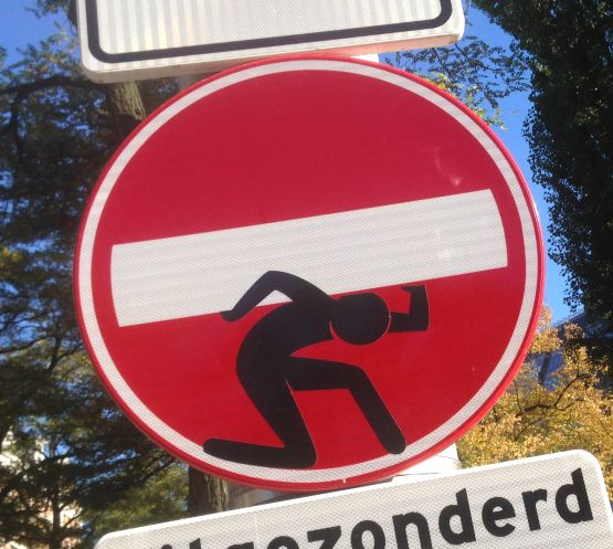 sticker CLET Abraham traffic sign Amsterdam 2013 autumn heavy