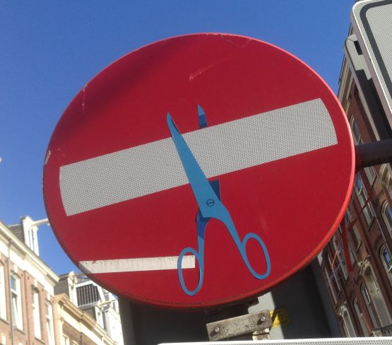 sticker CLET Abraham traffic sign Amsterdam 2013 autumn scissors