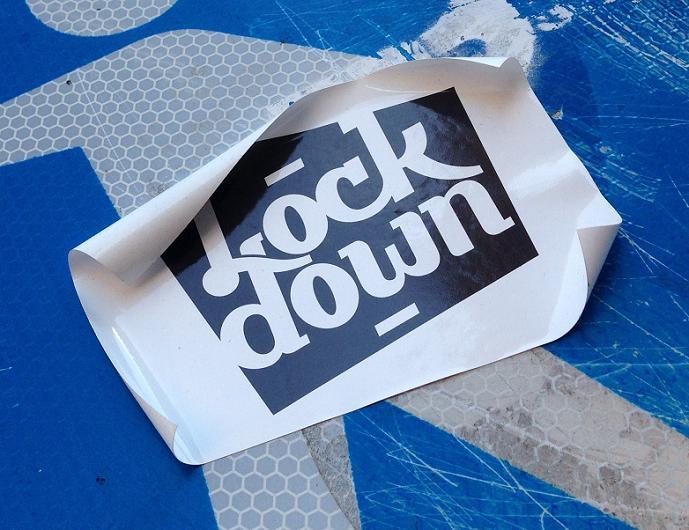sticker Lock down Amsterdam de Pijp August 2013