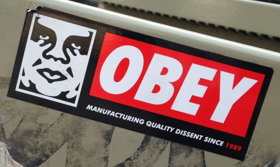 sticker Obey 2014 March Amsterdam center manufacturing quality dissent 1989
