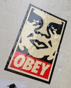 sticker Obey giant Amsterdam center August 2013