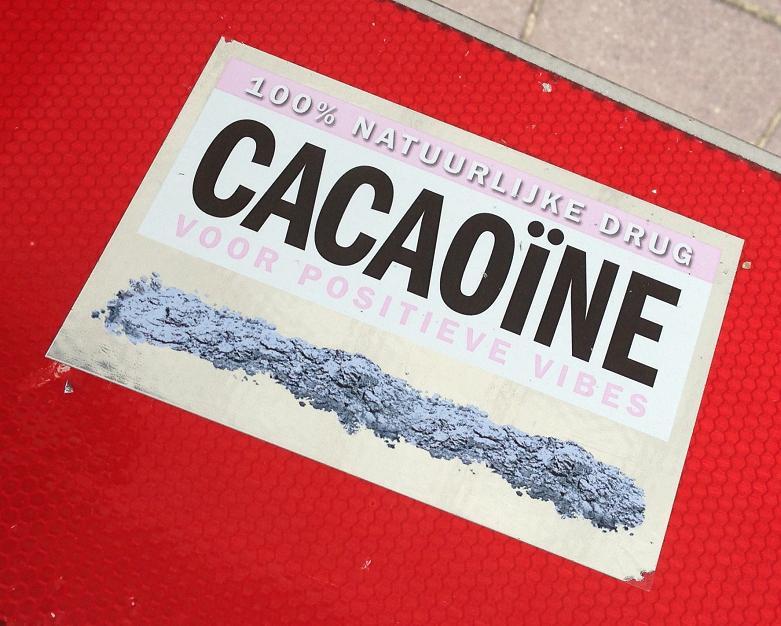 sticker cacaoïne Amsterdam 2013 August natuurlijke drug positieve vibes