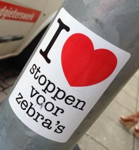 sticker i love stoppen voor zebra's Amsterdam 2013 August