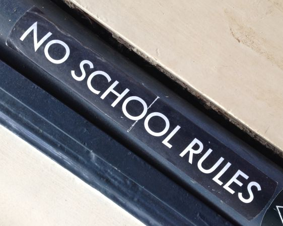 sticker no school rules Amsterdam center 2014 February education