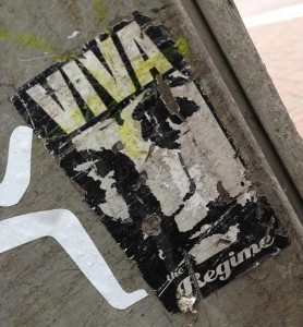 sticker viva the regime Amsterdam center August 2013
