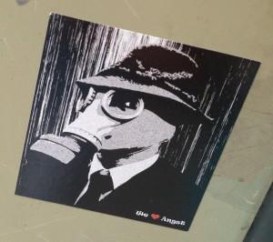 sticker we love angst gasmask Amsterdam De Pijp August 2013