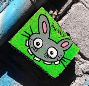 tile wood Bunny Brigade Amsterdam Spui 2013 August mad rabbit