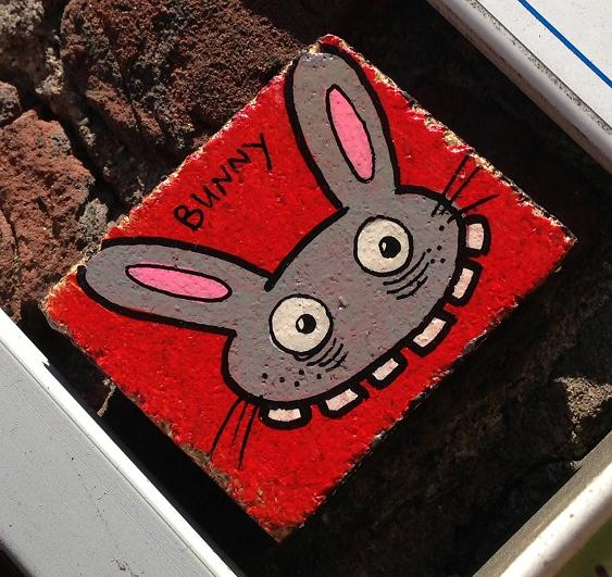 wooden tile Bunny Brigade Amsterdam Spui 2013 August rabbit tegel