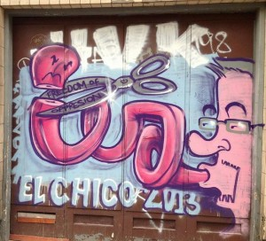 ElChico graffiti freedom of oppression Amsterdam Wibautstraat 2013 September