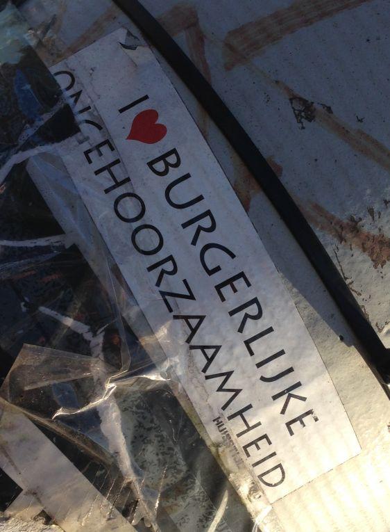 Huisstijl Noord sticker i love burgerlijke ongehoorzaamheid Amsterdam ndsm 2013 December