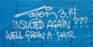 Laser 3.14 graffiti insulted again well grow a pair Amsterdam Duivelseiland 2013 September